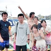 ダイビング船でのランチタイム